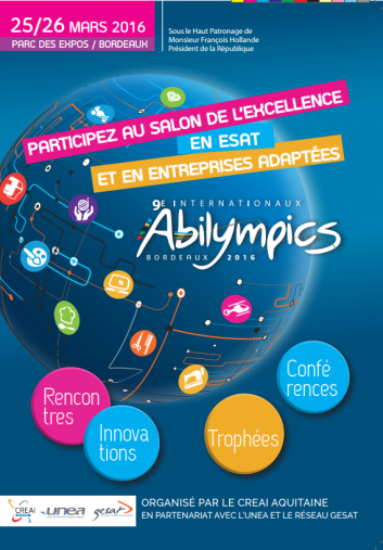 Internationaux Abilympics 25 et 26 mars à Bordeaux / salon de l'excellence en ESAT et en EA